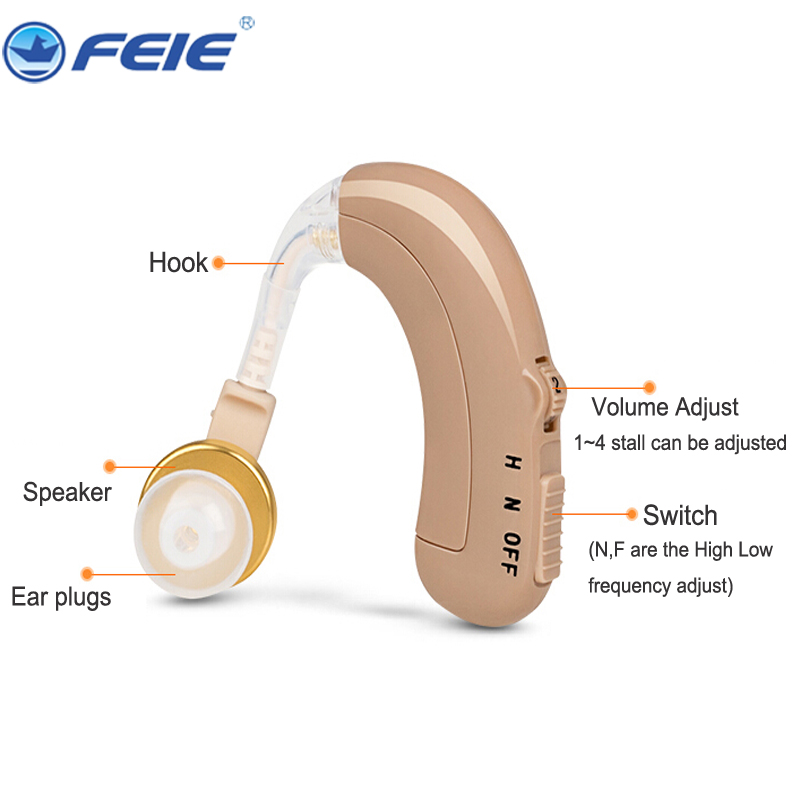 Rechargeable Mini Bte Hearing Aid Headphone for Deaf c-109 O-N-H Adjustment aparelho auditivo hearing device Free Shipping