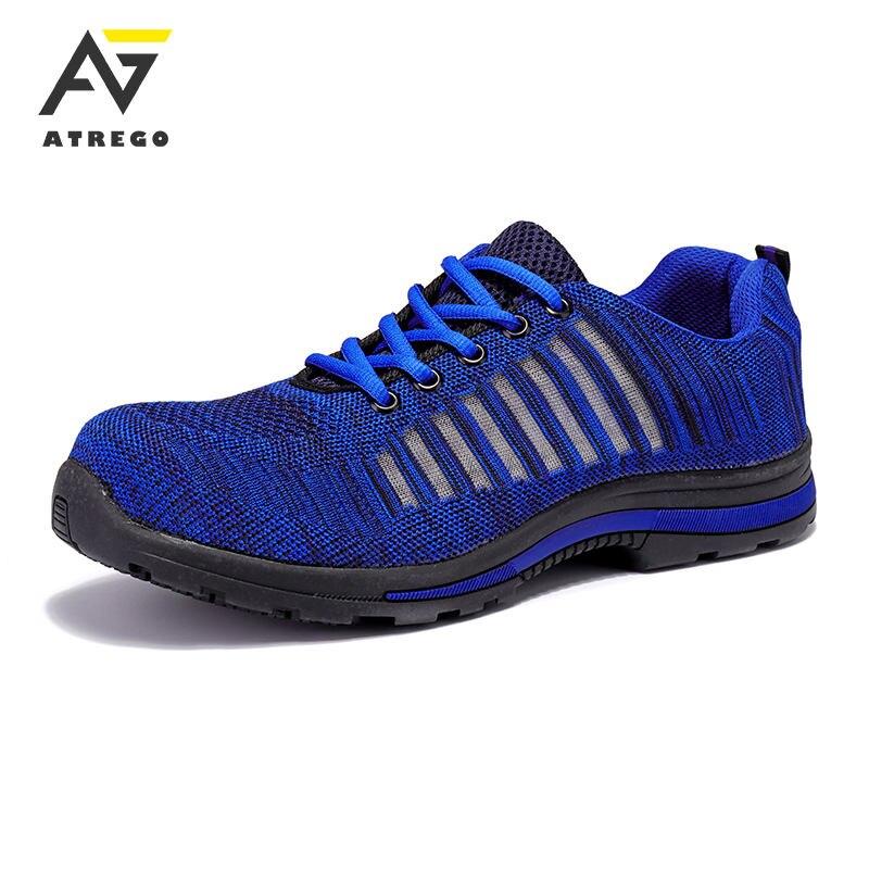 AtreGo Men Outdoor Steel Toe Work Safety Shoe Indestructible Bulletproof Midsole
