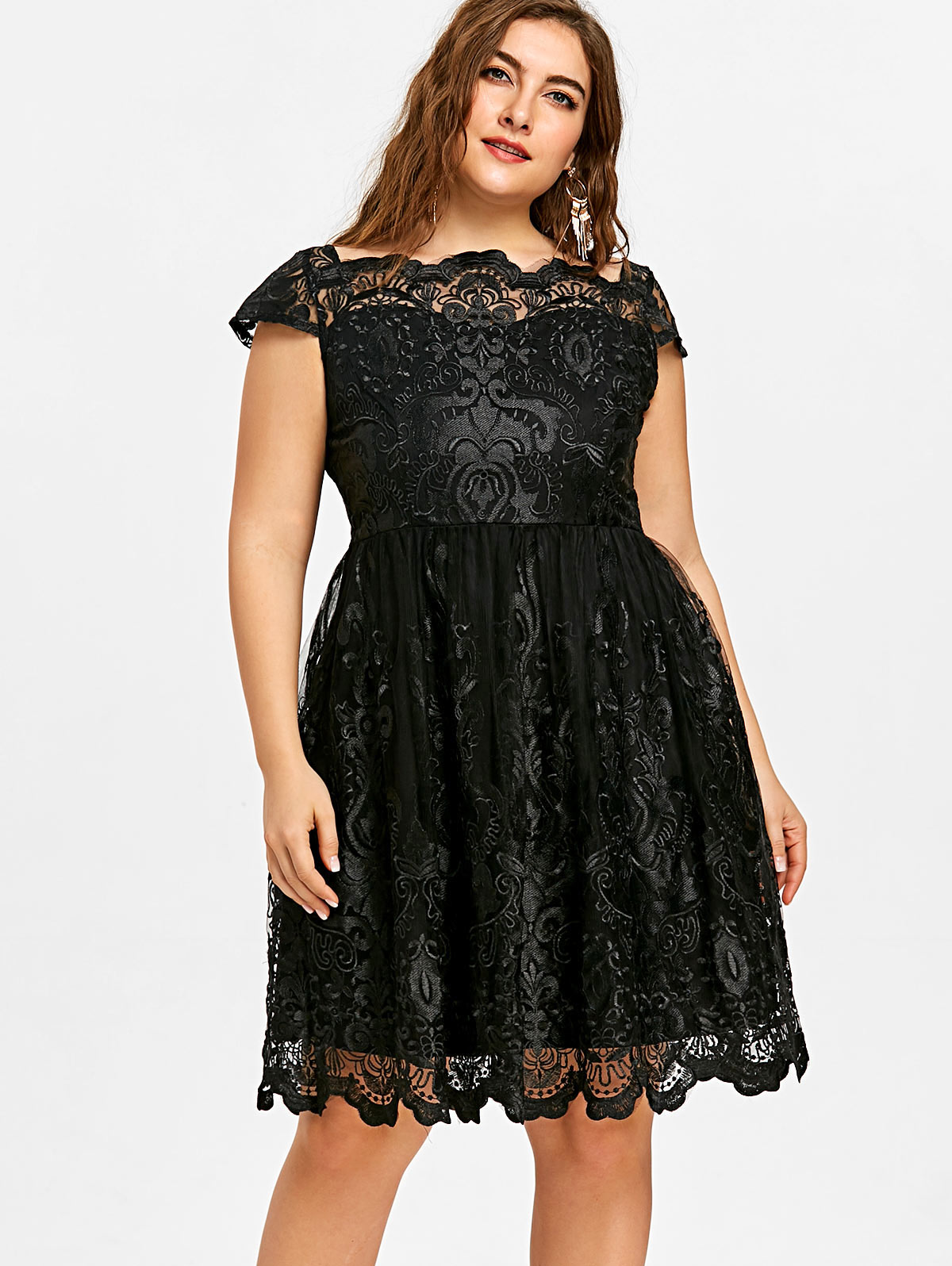 da2e464360 √ Low price for scalloped laced dress and get free shipping - m3i42l95a