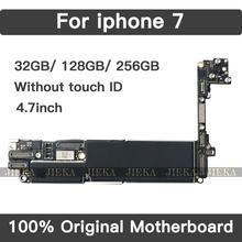 Fábrica desbloqueado para iphone 7 placa mãe não/sem toque id, original para iphone 7 mainboard com chips, 32 gb 128 gb 256 gb