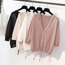 Hot Sale Female Hooded Lace-Up Knitted Sweaters Solid Ladies Spring Summer Single Breasted Thin Cardigans
