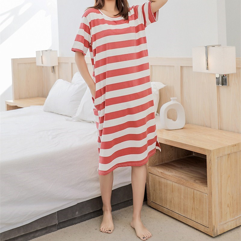 New Arrival Female Casual O-Neck Mid-Calf   Nightgowns   Summer Striped Short Sleeve Cotton   Sleepshirts