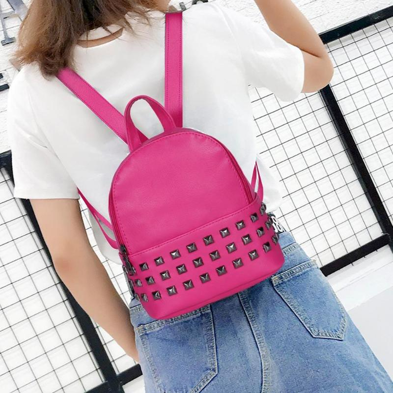 21 Colors Fashion Rivet Women Backpack PU Leather Casual Small Size Teenage Girls Shoulder Schoolbags Fashion Rivet, PU Material
