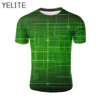 YELITE 2019 Newest Green lines Sleeve Summer T-Shirt Technological Sense 3d Print T Shirt Top Novelty geometric Tshirt Male Tees