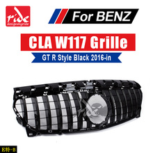 CLA-Class W117 GT R Style Front Grille ABS Gloss Black CLA200 CLA250 CLA300 CLA45 Without sign Bumper 2016-18