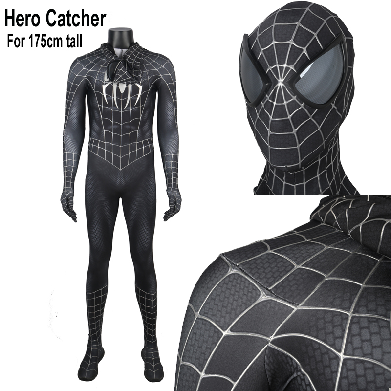 Hero Catcher High Quality For 175cm Tall Black Spider Man Costume With Painted Cobwebs Black Raimi Spider Man Suit With Mirrror