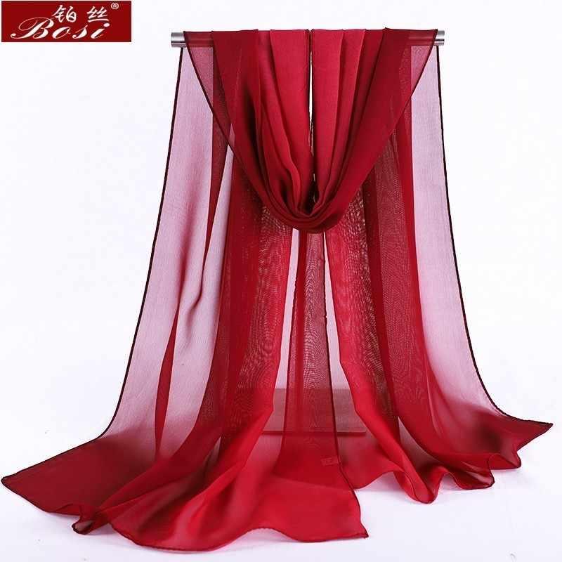 시폰 스카프 그라디언트 여성 hijab 겨울 브랜드 가을 빨간색 긴 scarfs 판쵸 럭셔리 숙녀 스카프 목도리 sjaal 긴 보헤미안 gg