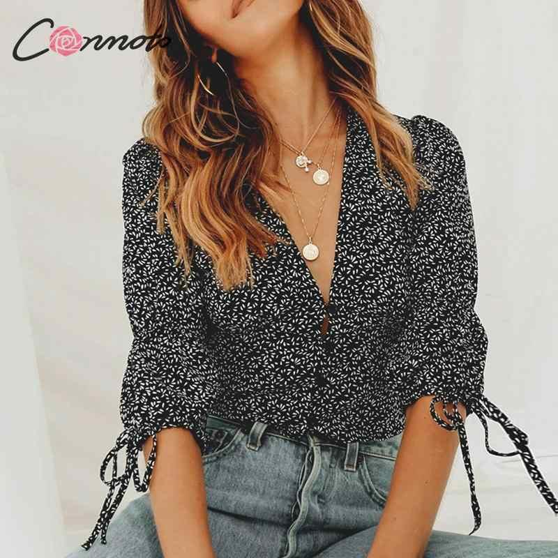 Conmoto Сексуальная короткая блузка с пуговицами, модная женская рубашка с глубоким v-образным вырезом, элегантная винтажная блузка, лето 2019