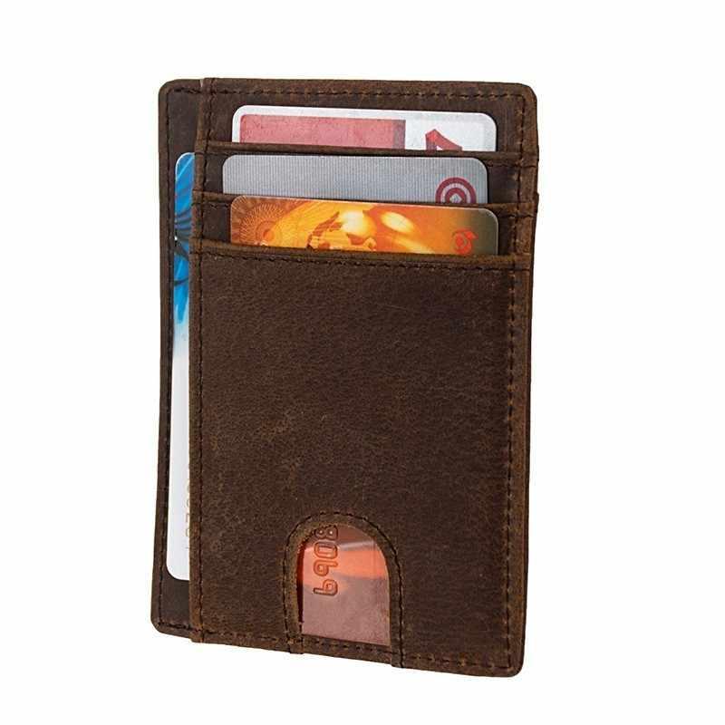 Slim minimalista bolsillo delantero RFID bloqueo carteras de cuero para hombres mujeres tamaño mediano 739-60