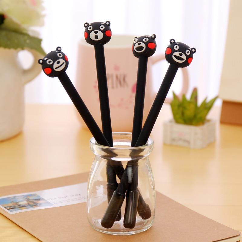 50pcs/set 0.38mm gel pen Japan South Korea stationery pen Cute cartoon kumamoto bear neutral students black felt-tip pens cute cartoon bear gel pen pens pencils