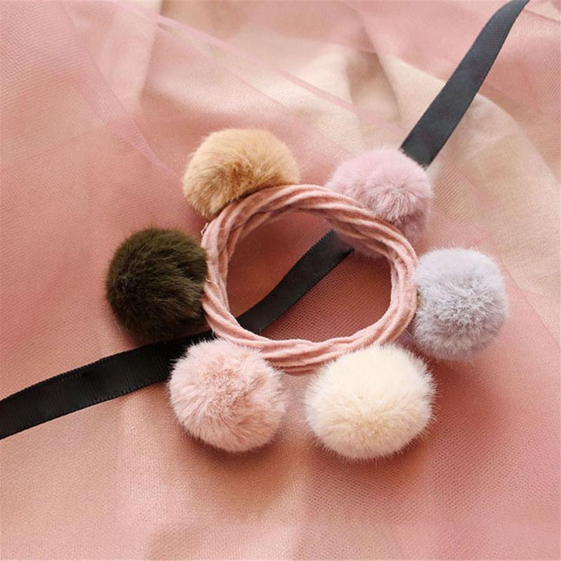 Five Styles Plush Student Ball Color Beads Rope Hair Girls Hair Accessories Ponytail Tape Elastic Hair Hair Tie