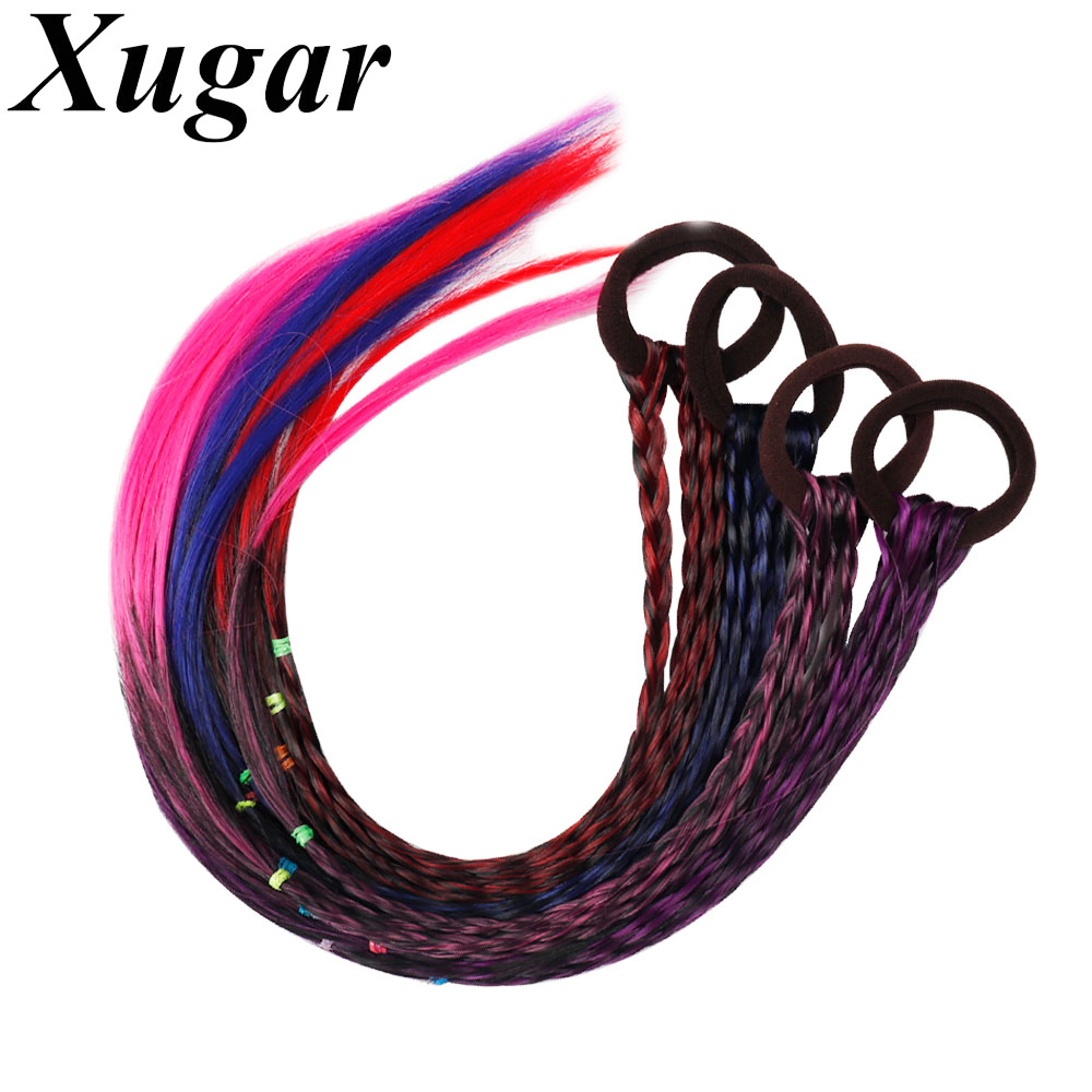 4Pcs/Lot Colourful Wigs Braid Elastic Hair Bands For Girls Pigtail Rubber Bands Women Hair Scrunchie Headbands Hair Accessories