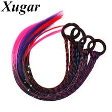 Xugar accesorios de Pelo elástico banda de pelo colorido pelucas trenza  bandas de goma de las mujeres gomas de moda diademas toc. 8288ad8b0884