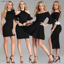 Сексуальные коктейльные платья Ever Pretty новогодние дешевые черные вечерние мини платья с открытыми плечами Vestido De Fiesta De Coctel
