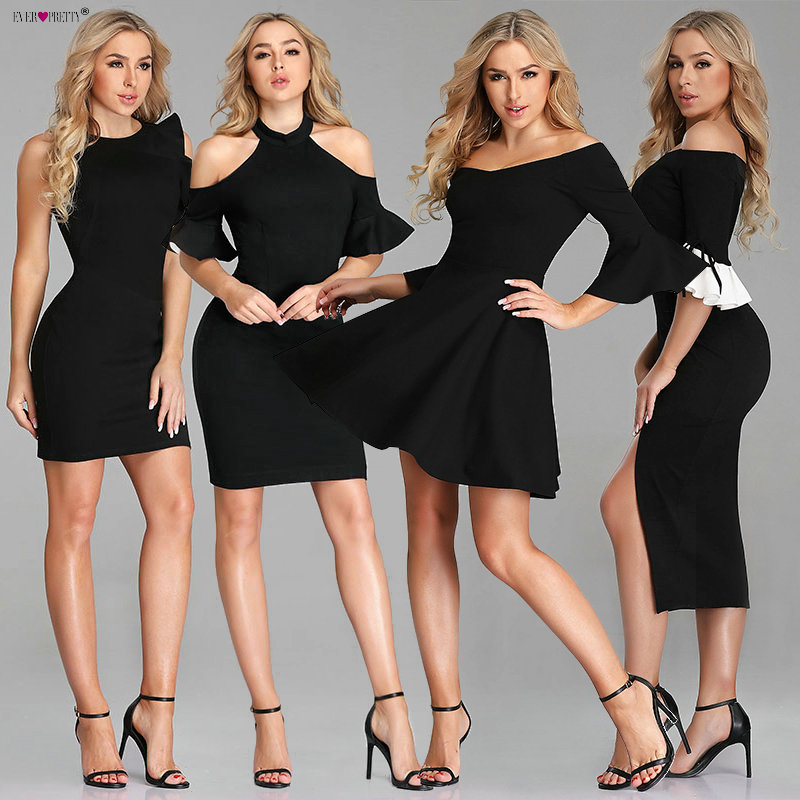 Sexy   Cocktail     Dresses   2019 Ever Pretty New Year Cheap Black Off Shoulder Black Mini Formal Gowns Vestido De Fiesta De Coctel