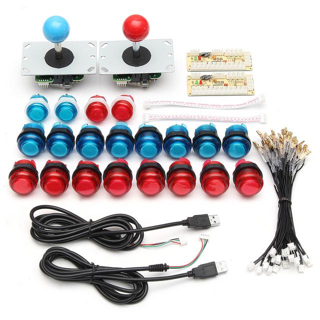 DIY Joystick Arcade Kits 2 Players With 20 LED Arcade Buttons + 2 Joysticks + 2 USB Encoder Kit + Cables Arcade Game Parts Set