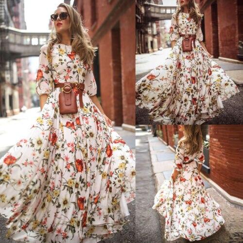 Women's Maxi Boho Tunic Loose Casual Dress Floral Print Summer Beach Evening Party Long Sundress