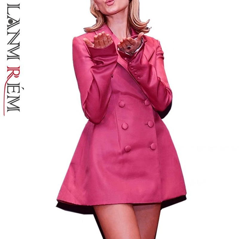 LANMREM 2019 New Spring Fashion Women Blazers For Women Full Sleeves Double Breasted Notched Collar Hot