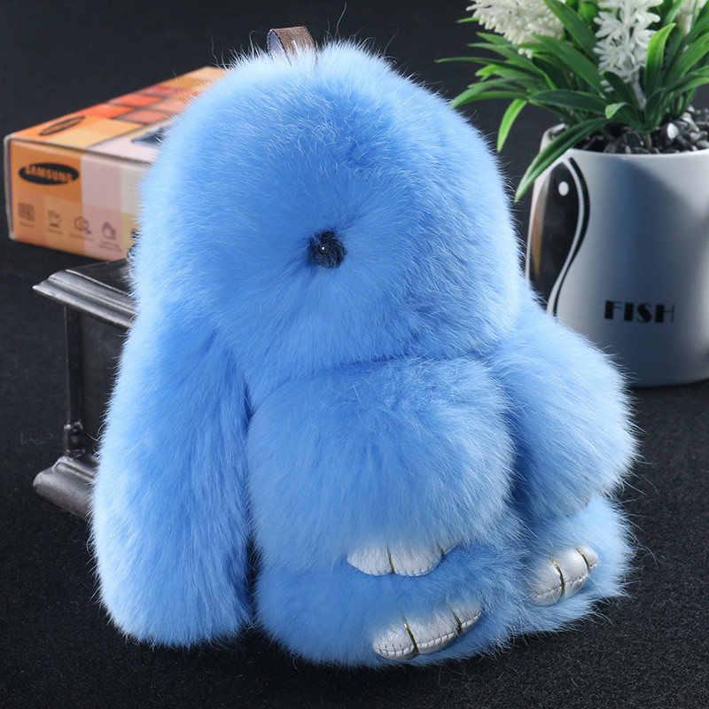 14cm mignon Pluff lapin porte-clés Rex véritable lapin fourrure porte-clés pour les femmes sac jouets poupée moelleux Pom Pom beau pompon porte-clés