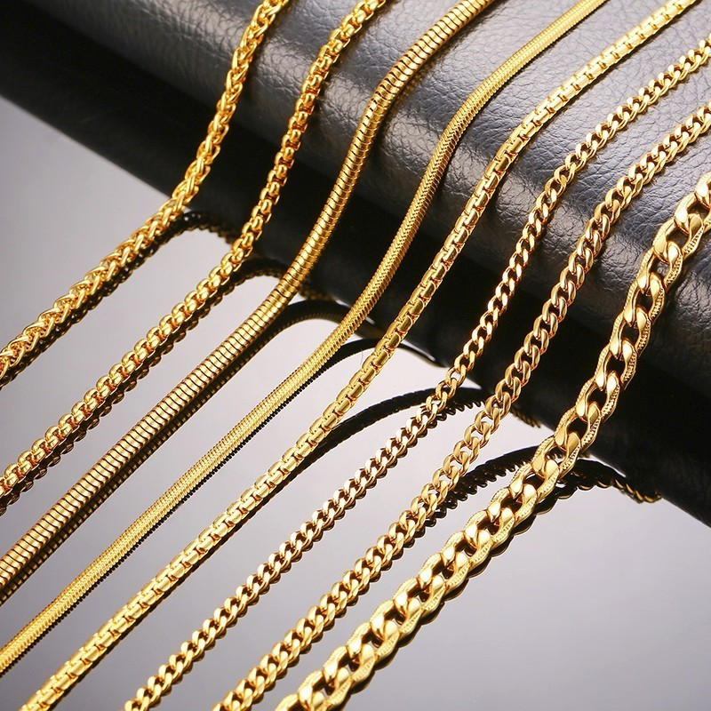 Vnox Men Women Necklace Gold Tone Snake Miami Cuba Wheat Spiga Paima Link Round Box Curb Chain 24