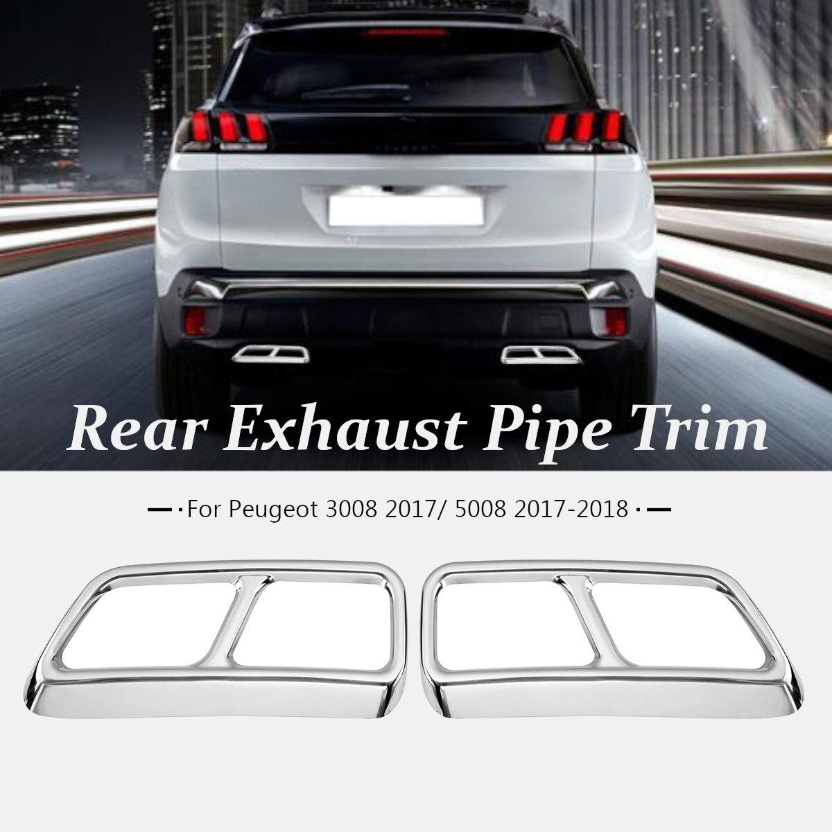 2Pcs/set Rear Exhaust Muffler Pipe Cover Trim Decoration For Peugeot 3008 2017 / 5008 2017 2018 for peugeot 3008 5008 2017 2pcs set rear exhaust muffler pipe cover trim decoration