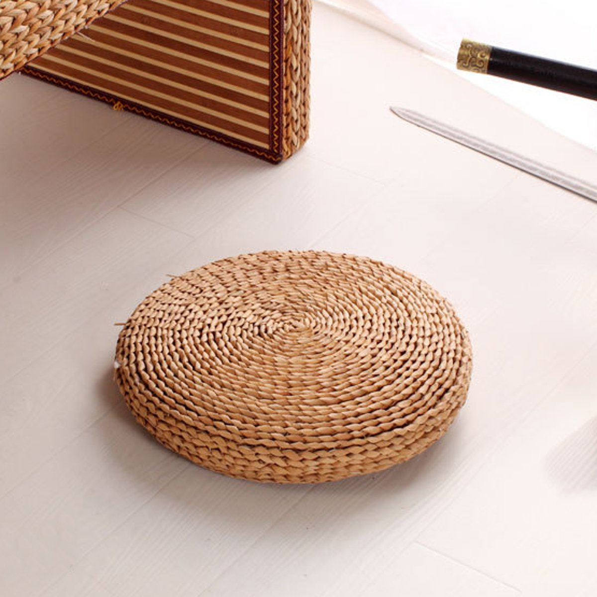 30/40/45cm Round Natural Straw Weave Handmade Pillow Floor Yoga Chair Seat Mat Tatami Cushion Thicken Meditation Window Cushion