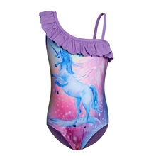 AmzBarley Rainbow Unicorn Girls One Piece Swimsuit Ruffle Sleeve Swimwear Beach Bathing Suit girls unicorn print ruffle trim swimsuit