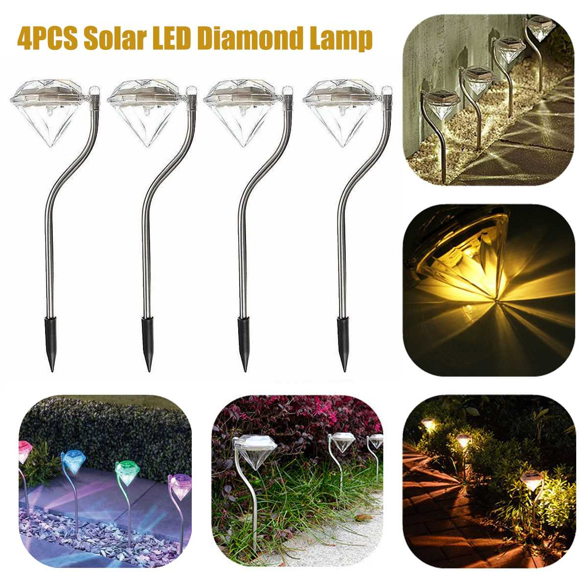 4pcs/lot Outdoor LED Solar Lamps for Garden Path Stake Lanterns LED Diamonds Pathway Lawn Solar Light Waterproof|LED Lawn Lamps| |  - title=