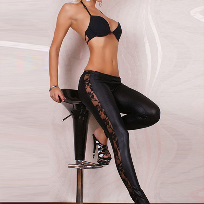 Womens Leggins 2018 Sexy   Leggings   Faux Leather with Lace Trim Pants   Leggings   Full Length Woman   Leggings   Hollow Out Hot