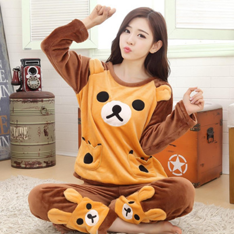 2 PIECE Cute bear   Pajama     Set   Nightwear Pijama Home Suit women loungewear lingerie Flannel Winter Warm Pyjama two piece