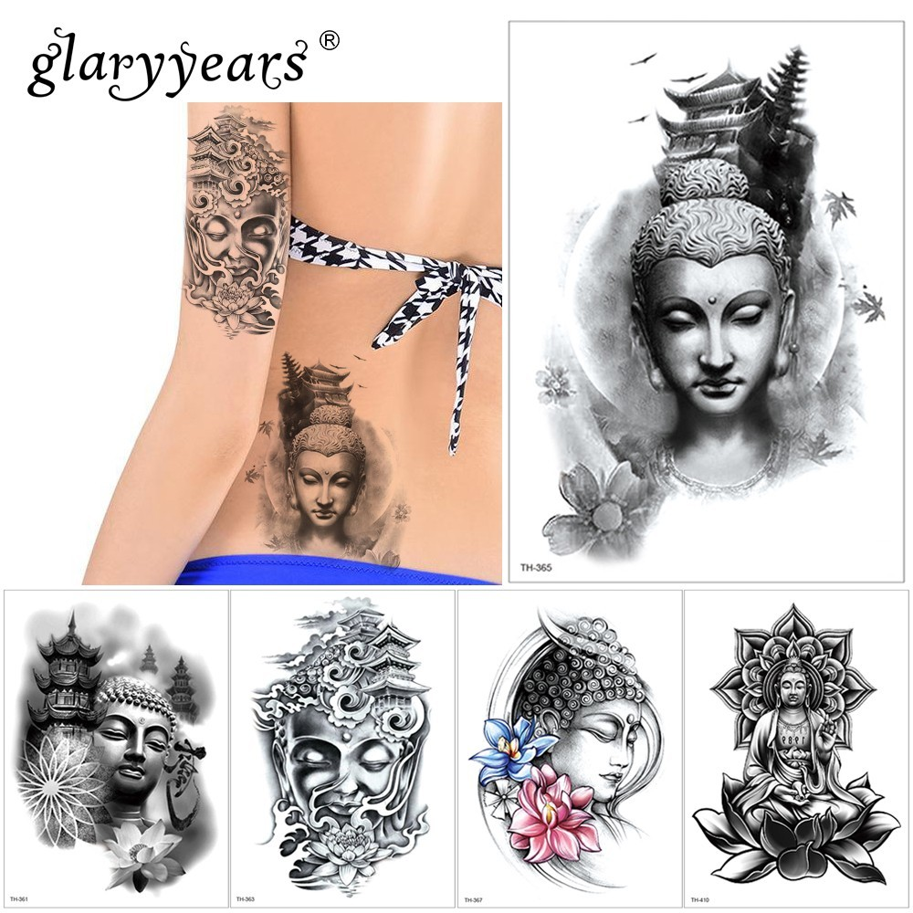 Glaryyears 1 Sheet Temporary Tattoo Sticker Cool Fake Tatoo Buddha Flash Tatto Waterproof Small Body Art Men Women TH Link 08
