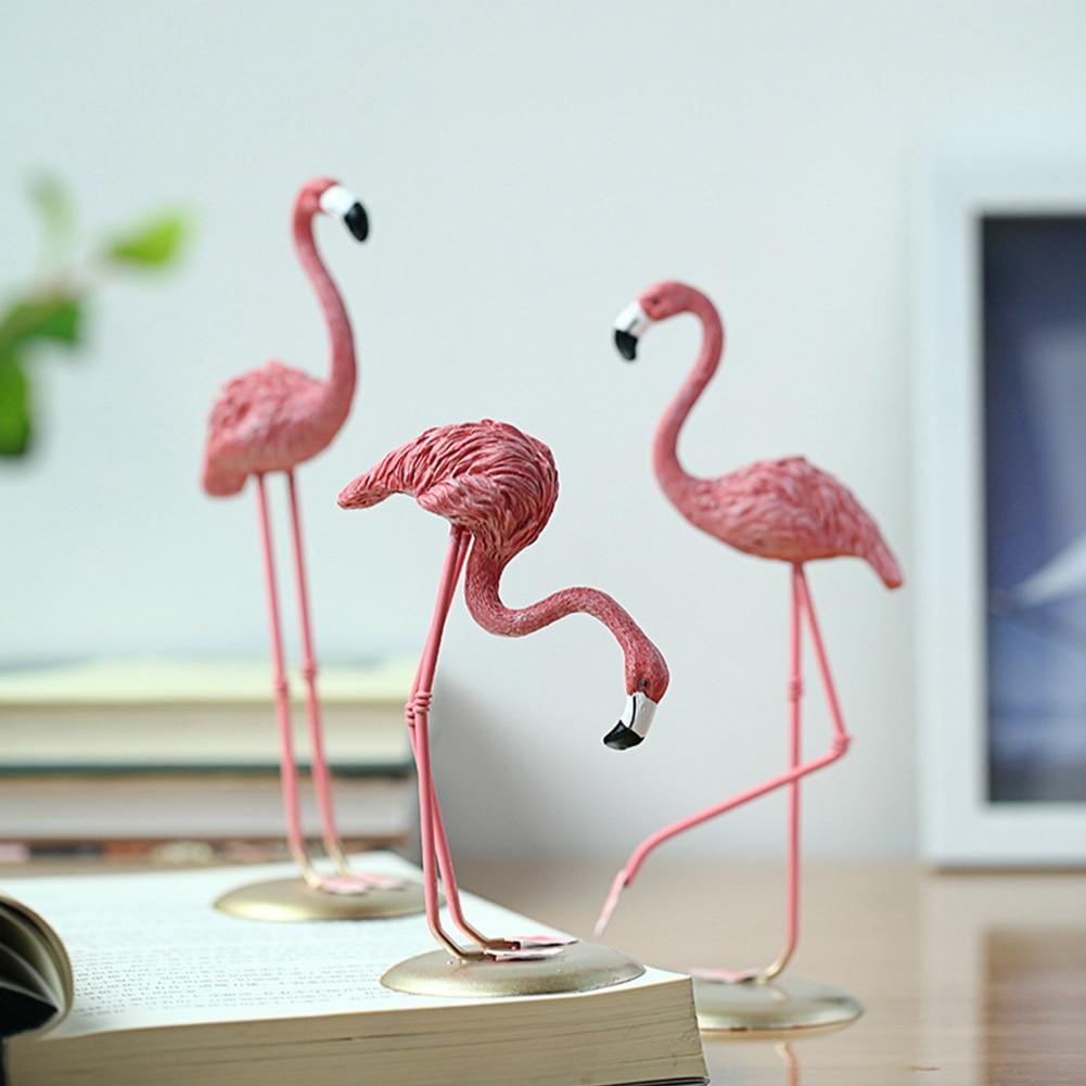 Flamingo Figurine 3Pcs Resin Animal Statue Stylish Decorative Resin Crafts Interior Ornament Home Decoration hogar Accessories