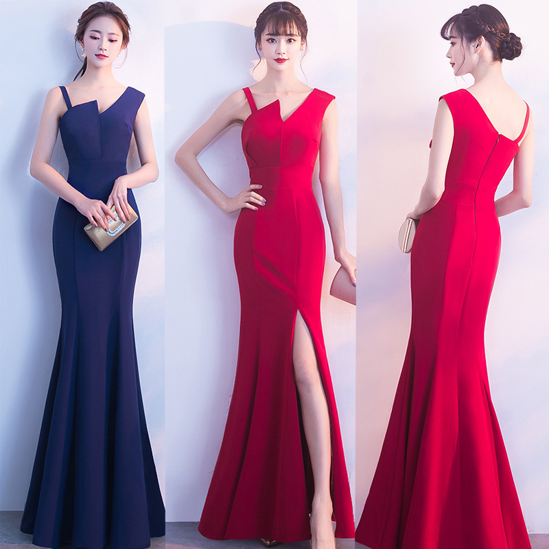 Long Bridesmaid Dresses 2019 Simple New Chiffon Sexy Leg Slit  Sleeveless Scalloped Floor-Length Mermaid Dress For Wedding Guest
