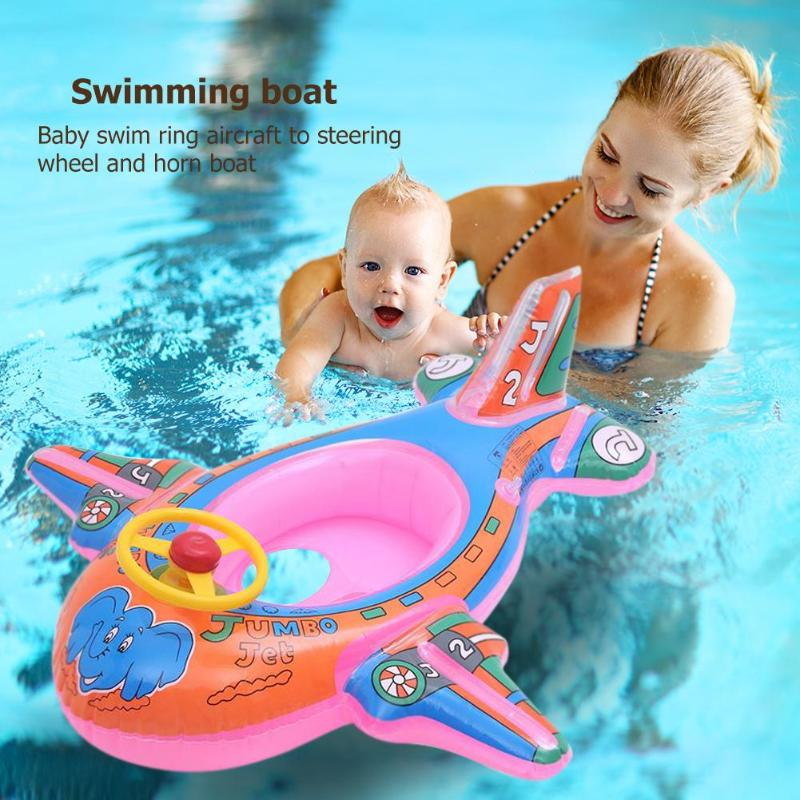 Cute Baby Swimming Ring Pool Seat Water Swimming Boat With Steering Wheel Kids  Floats