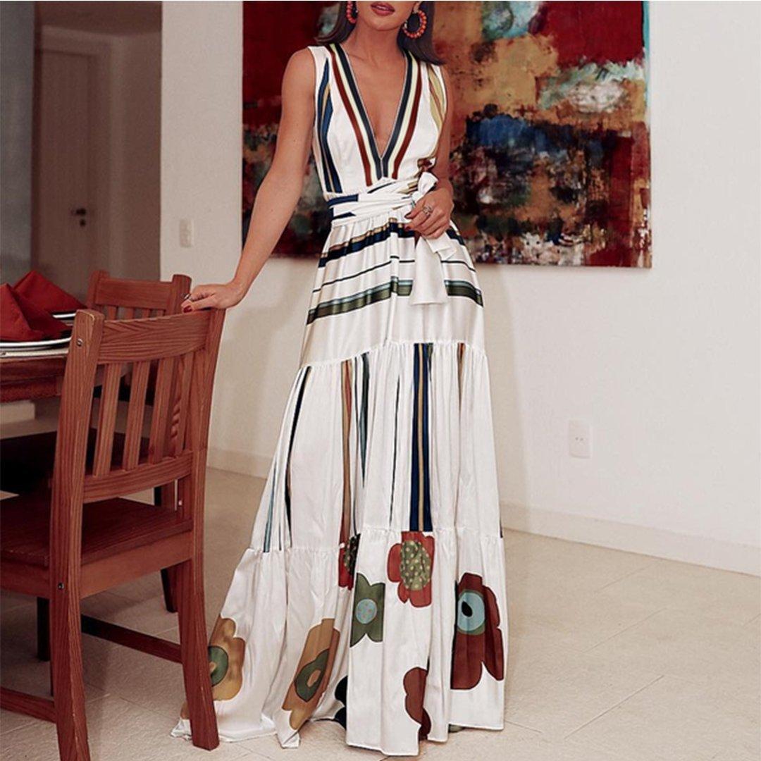 Striped Boho Dress Summer 2019 Women Ruffle Floral Maxi Beach Dress Ladies V Neck Tunic Dress Sexy Long Holiday Dresses Women