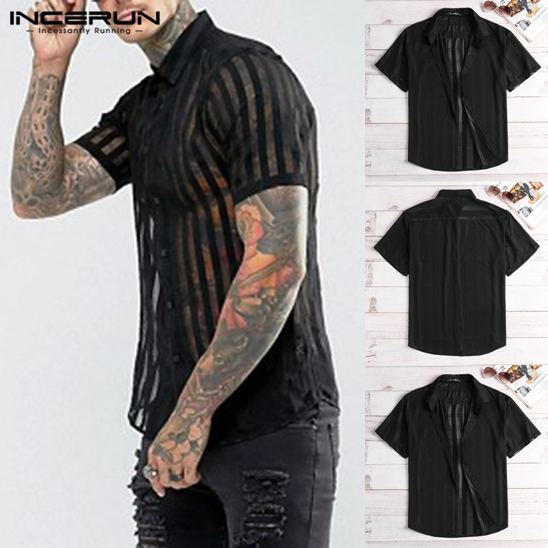 INCERUN 2020 Fashion Sexy Striped Men Shirt Short Sleeve Lapel Neck Transparent Tops See Through Nightclub Party Men Shirts 5XL