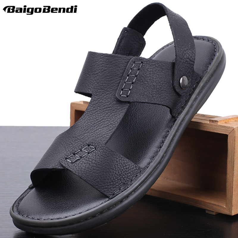US 6 10 Men 39 s Sandals 2019 New Summer Leisure Beach Slippers for Man Real Leather Slippers in Men 39 s Sandals from Shoes
