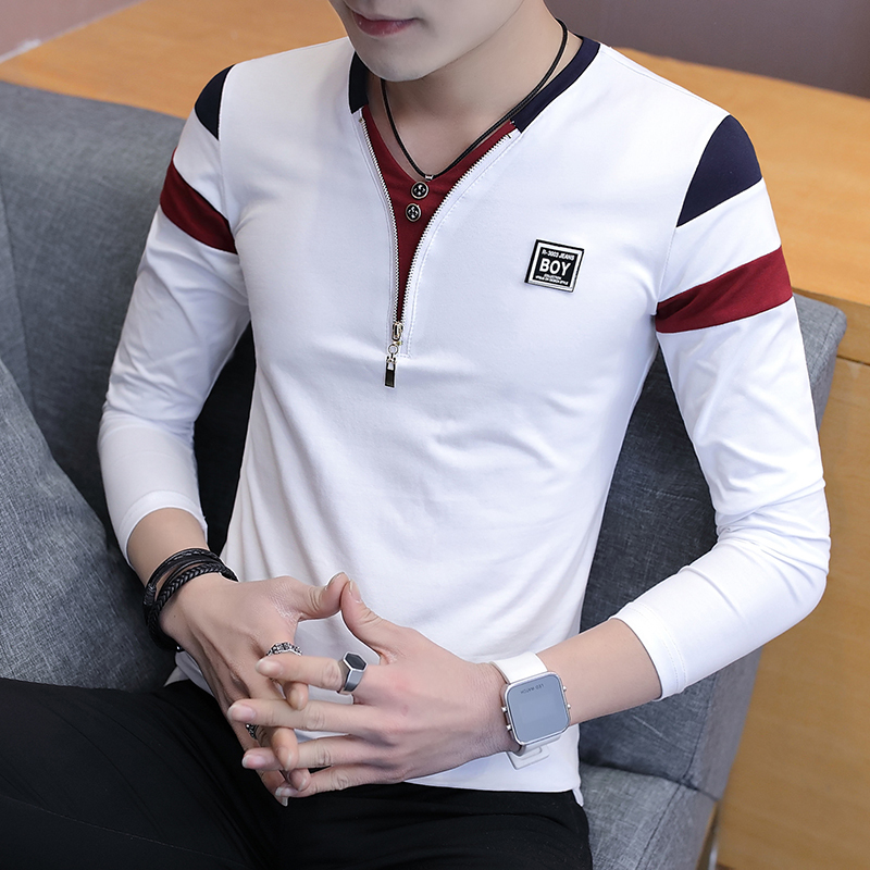 2019 Spring T-Shirt Men Long Sleeve Casual Zipper T Shirts Self-cultivation Design Simple T Shirt Brand New Round Neck Homme 2
