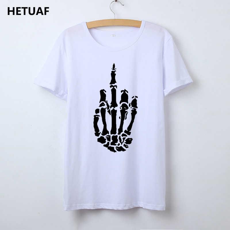 HETUAF Iskelet Hareketi Grafik Tees Kadın Tshirt Kafatası Serin 2018 Hipster T Shirt Kadın Üstleri Punk Rock Komik Camisetas Mujer