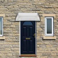 HT 100 x 80cm Household Application Door & Window Rain Cover Eaves Canopy White & Gray Bracket Cover Canopy Rain Awning
