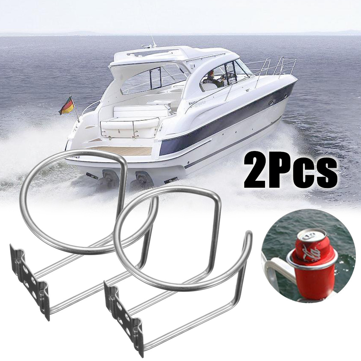 2pcs Universal Boat Ring Cup Holder Water Drink Beverage Bottle Stand Holder For Marine Boat Yacht Truck RV 304 Stainless Steel