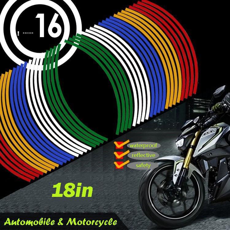 16pcs Motorcycle Reflective Wheel Rim Stickers 18in Car Waterproof Tire Hub Sticker Decal Decoration For YAMAHA HONDA SUZUKI BMW
