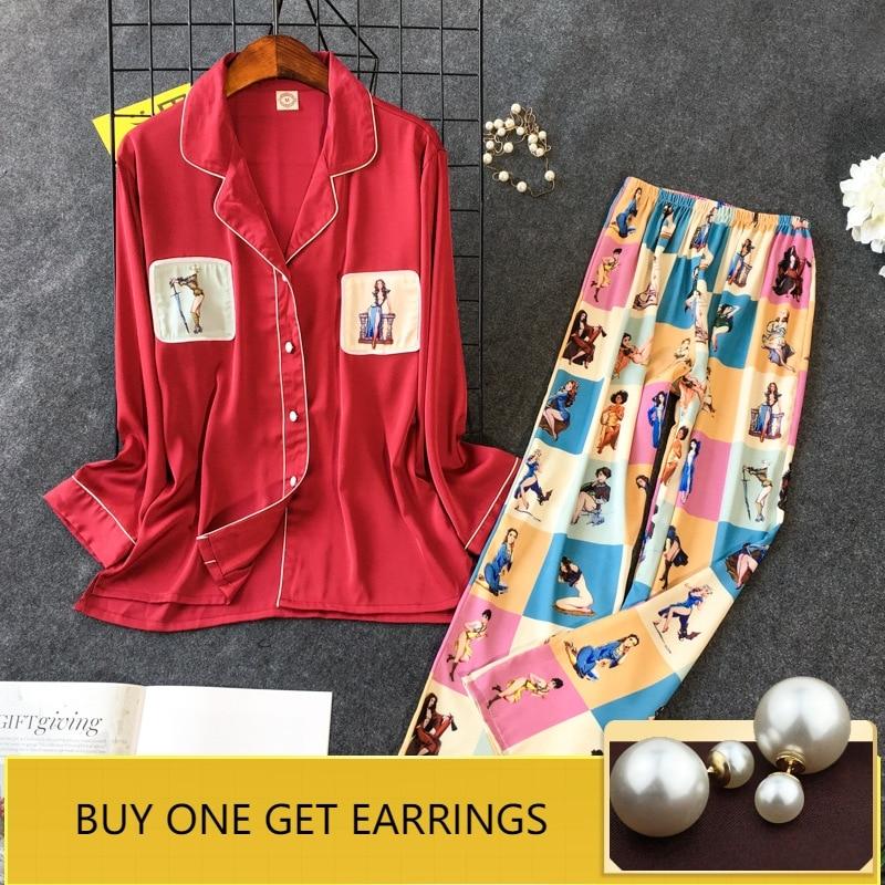 QWEEK Spring Autumn Women Satin   Pajamas     Set   Long Sleeve Women Sleepwear Silk Pijama Mujer Sweet Cute Pyjama Femme 2 Pieces   Sets