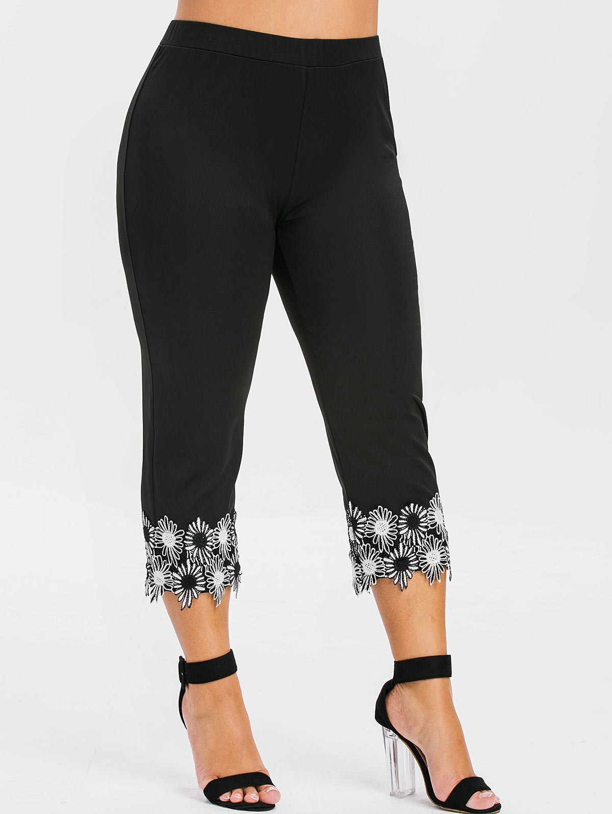 Rosegal Plus Size Lace Applique Capri   Leggings   High Waist Straight Capri Gym   Leggings   Fitness Women Summer Casual Bottoms 2019