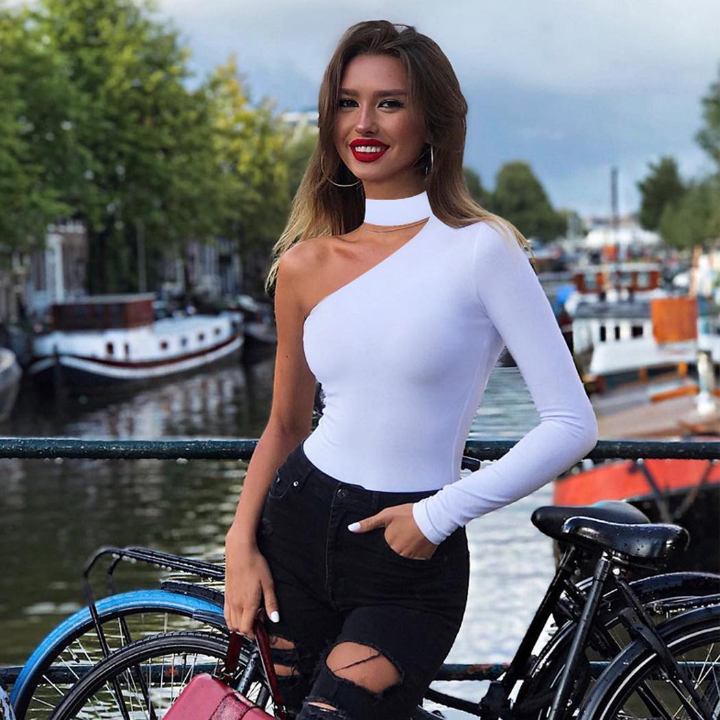Women Fashion Solid One Shoulder Choker Spring/Autumn/Winter Short Casual Long Sleeve   Jumpsuit   Bodysuits