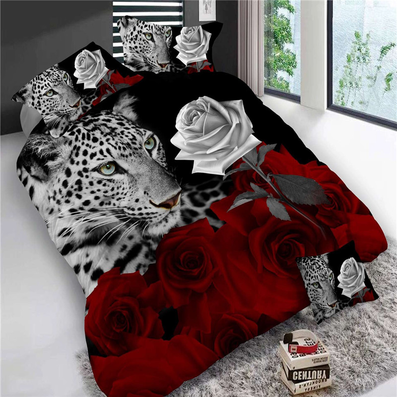 4Pcs King Size Luxury 3D Rose Bedding SetS Red Color Bedclothes Comforter Cover Set Wedding Bed Sheet Tiger / Dolphin / Panda