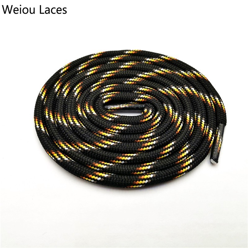 Weiou 6mm Round Rope Laces Black With Colorful Dots Line Yellow Bootlaces Unisex Striped Shoelaces For Sneakers Christmas Sale