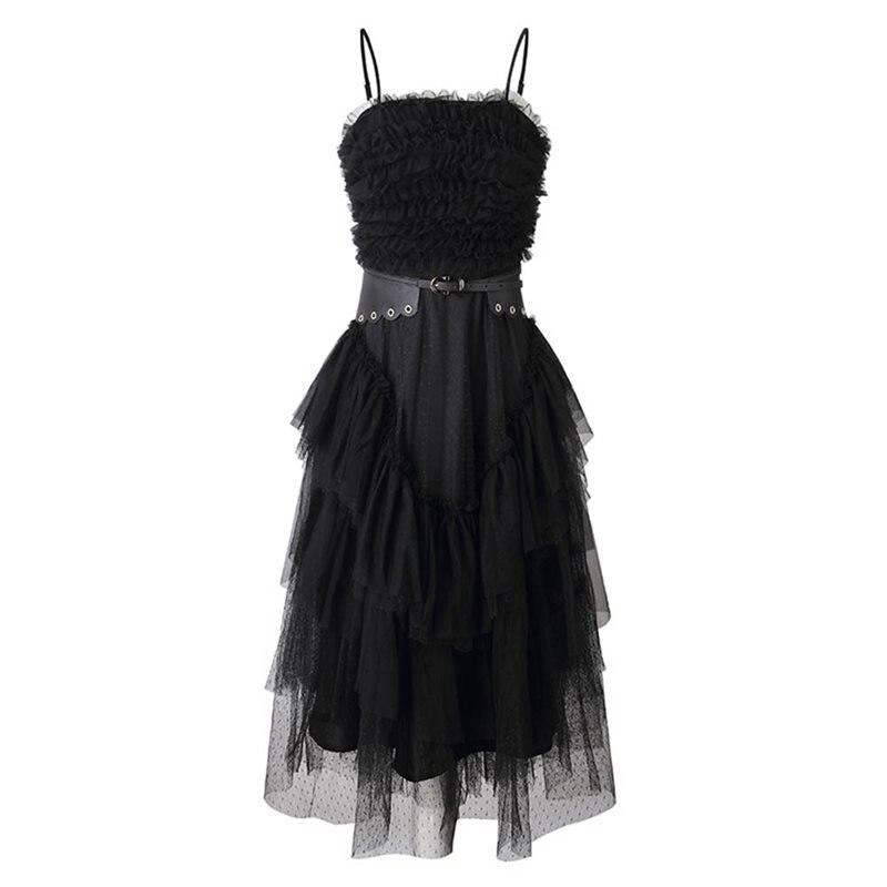 Rosetic Sexy robe noire femmes été robe de bal maille drapée Goth dos nu Clubwear femme partie élégante sangle dentelle maille robes