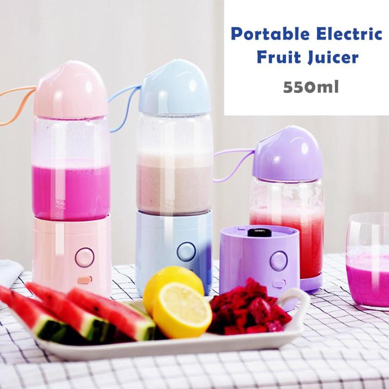 550ml Separate design Mini USB Rechargeable Portable Electric Fruit Juicer Sports Bottle Wear USB Charging Wire