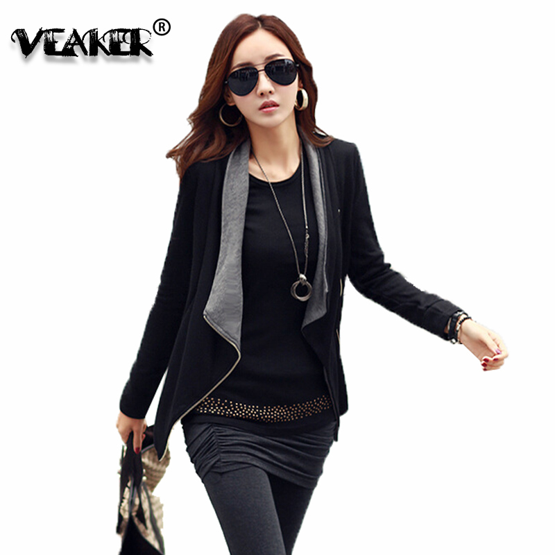 2018 Fashion Women Black Zipper Cardigan Sweater Long